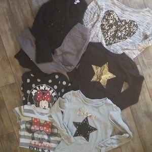 Girls bundle of 7/8 leggings, sweater and shirts
